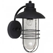 Flint Matte Black IP44 Outdoor Lighting Exterior Cage Period Wall Lights
