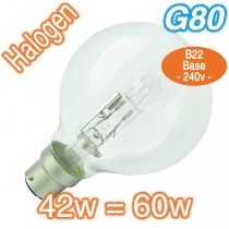 Cheap B22 Halogen Bulb G80 Clear 60w Lamp 240v Globe
