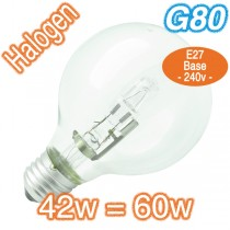 Cheap G80 Clear 60w E27 Halogen Lamp 240v Globe