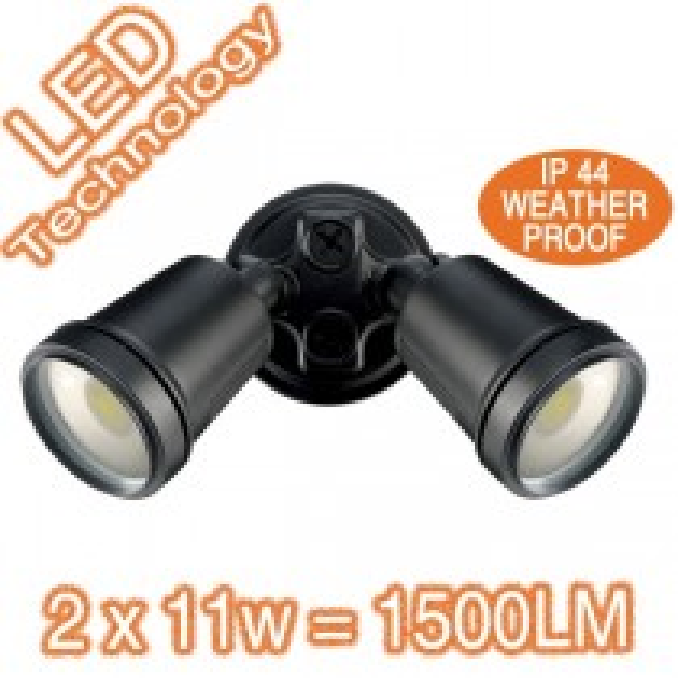 Hunter3 22w LED 2 Head Lights Exterior Flood Lighting Black 19242/06