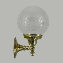 Koscina Wall Lighting Brass Etched Sphere Lights Glassware Period Traditional