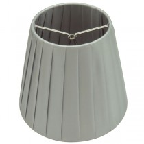 Grey Ling Pleated Silver Clip-On Fabric Shade