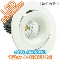 12w Dimmable COB LED MDL503 White Gimble Downlight Kit