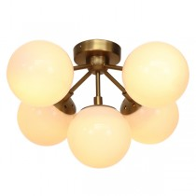 Moet LED 5Light CTC - Burnished Brass + Opal Glass