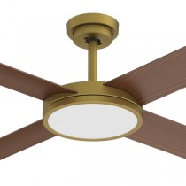 "Revolution3 52"" Dimming LED AC Polymer Ceiling Fans Antique Brass Hunter Pacific"
