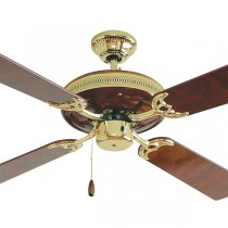 "Majestic Rosewood 52"" AC Timber Ceiling Fan Polished Brass Hunter Pacific"