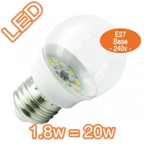 1.8w=20w E27 Fancy Round LED Lamp - 240v Globe