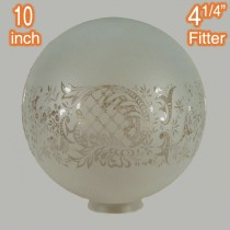 Etched French 10 inch Sphere Glassware Lamps Shades Sheffield Period Lighting
