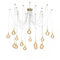 Pendant Lighting Spider 16 Lights Looping Gold Ceiling