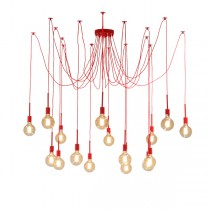 Spider 16 Lights Pendants Cafe Lighting Hanging Red Ceiling Draped Large