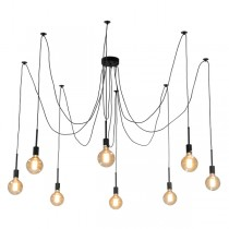 Spider Black Pendant Lighting 8 Light Hanging