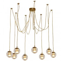 Jason Miller Spider Gold Brass Pendants Lights Looping Ceiling Lighting