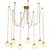 Gold Brass Jason Miller Spider Pendants Lights Looping Ceiling Lighting