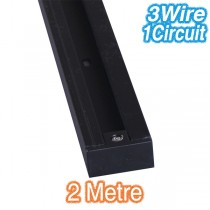 Black 2m Track Lighting 3Wire 1Circuit