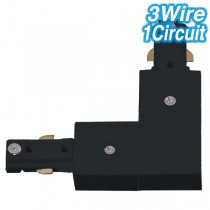 Black L-Shaped Joiner Track Lighting 3Wire 1Circuit