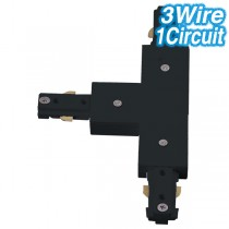 Black T-Shaped Joiner Track Lighting 3Wire 1Circuit