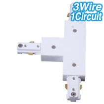 White T-Shaped Joiner Track Lighting 3Wire 1Circuit