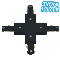 Black Cross Joiner Track Lighting 3Wire 1Circuit