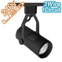 Black LED Cylinder Track Light 3Wire 1Circuit