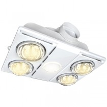 White IXL Supernova LED 4Heat 3in1 Bathroom Heater Exhaust Light