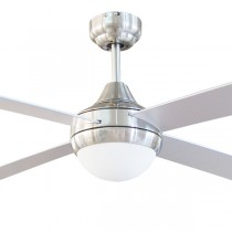 "Brushed Chrome Ceiling Fan Tempo 48"" with E27 Light AC Timber Brilliant Lighting"