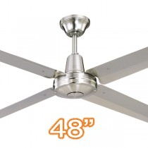 "Typhoon M3 48"" AC Aluminium Ceiling Fans Brushed Chrome Hunter Pacific"