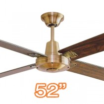 "Typhoon 52"" Timber Brass Walnut Ceiling Fan 4 Blade"