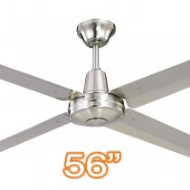 "Chrome Metal Ceiling Fans Typhoon 56"" 4 Blade"