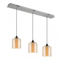 Kitchen Lighting Zoe 3 Lights Glass Pendants Amber Modern Cafe Bench
