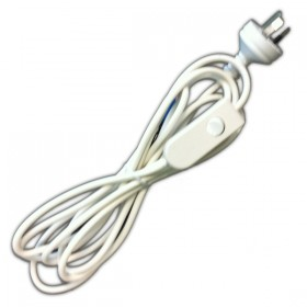 White 3Pin with In-Line Switch Flex & Plug - 240v