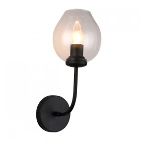 Abode 1 Wall Light - Black Matt + Clear Glass