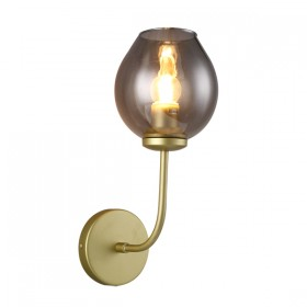 Abode 1 Wall Light - Gold Matt + Smoke Glass