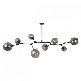 Abode 8 Light Pendant - Black Matt + Smoke Glass