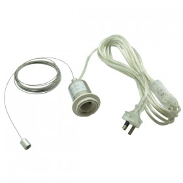 Adapt2 DIY Nickel Switch & Plug Suspension Cord Set - 240v (Suits 45mm Hole)