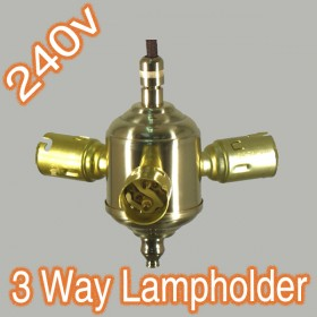 Standard 3Way B22 Brass Lamp Holder Adaptor - 240v