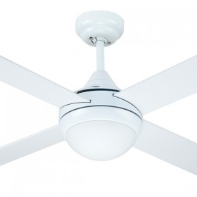 "Azure 48"" with E27 Light AC Timber 4Blade Ceiling Fan - White"