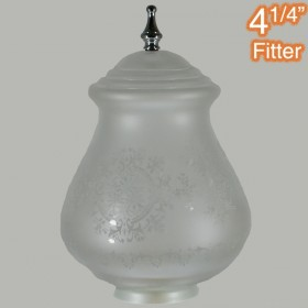 Cambridge Large Glass Shade - Frost Etched + Chrome