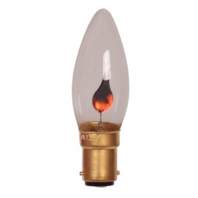 B15 Flicker Flame Candle Lamp - 240v Globe
