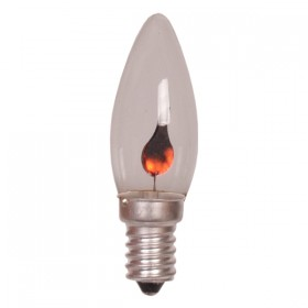E14 Flicker Flame Candle Lamp - 240v Globe