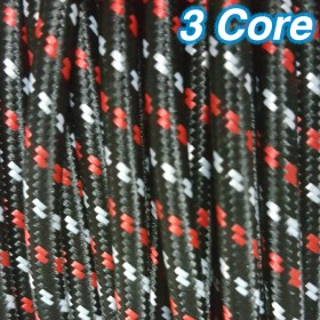 Black White & Red Cloth Cord Cable - 3 Core 240v
