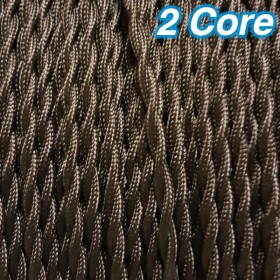 Brown Twisted Cloth Cord Cable - 2 Core 240v
