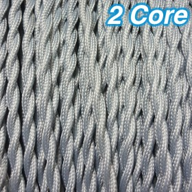 Grey Twisted Cloth Cord Cable - 2 Core 240v