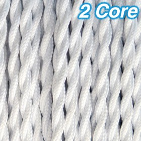White Twisted Cloth Cord Cable - 2 Core 240v