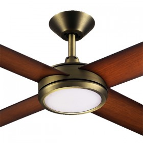 "Concept3 52"" with Dimming LED AC Polymer 4Blade Ceiling Fan - Antique Brass"