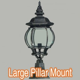Flinders Large Outdoor Pillar Mount Light - Antique Black