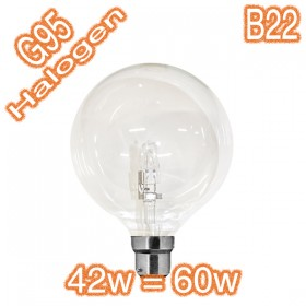 G95 42w=60w B22 Halogen Energy Saver Lamp - 240v Globe