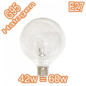 G95 42w=60w E27 Halogen Energy Saver Lamp - 240v Globe