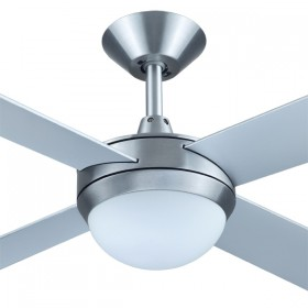 "Intercept2 52"" with E27 Light AC Timber 4Blade Ceiling Fan - Brushed Aluminium"