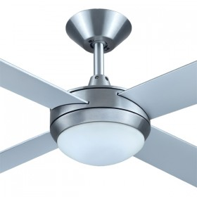 "Intercept2 52"" with Dimming LED Light AC Timber 4Blade Ceiling Fan - Brushed Aluminium"