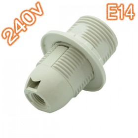 E14 Plastic Lamp Holder - 240v White + Thread